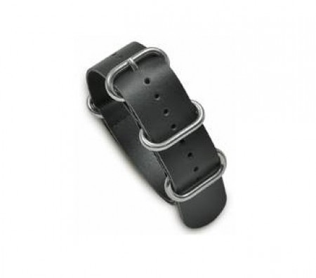 NATO-Style One-Piece Leather Strap Black WB-410