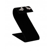 "1 pr Earring Stand-Black Leather (1 1/2 x 2 1/8 x 3 1/4"") DP25.601-01"