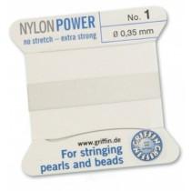 Nylon Bead Cord White #1 NY05-101
