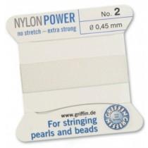 Nylon Bead Cord White #2 NY05-201