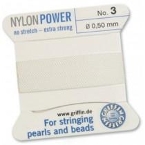 Nylon Bead Cord White #3 NY05-301