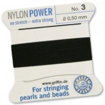 Nylon Bead Cord Black #3 NY05-399