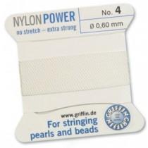 Nylon Bead Cord White #4 NY05-401