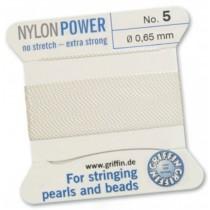 Nylon Bead Cord White #5 NY05-501