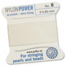 Nylon Bead Cord White #8 NY05-801