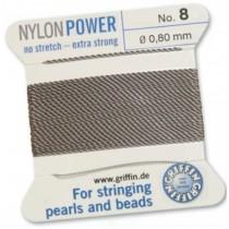 Nylon Bead Cord Gray #8 NY05-890
