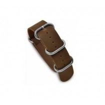 NATO-Style One-Piece Leather Strap Brown WB-410